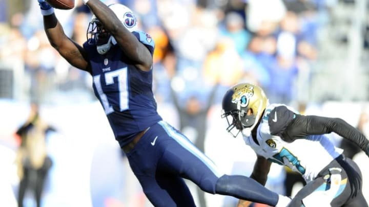 Dec 6, 2015; Nashville, TN, USA; Tennessee Titans receiver Dorial Green-Beckham (17) dives into the end zone to score a touchdown after a reception during the second half against the Jacksonville Jaguars at Nissan Stadium. The Titans won 42-39. Mandatory Credit: Christopher Hanewinckel-USA TODAY Sports