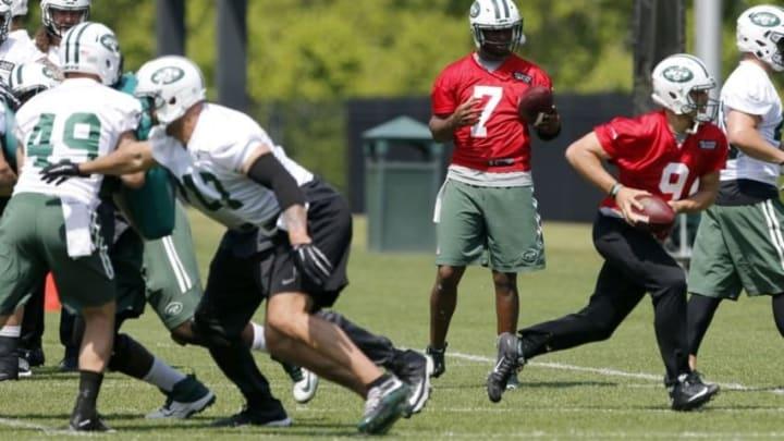 May 25, 2016; New York, NY, USA; New York Jets quarterback Geno Smith (7) during OTA at Atlantic Health Training Center. Mandatory Credit: Noah K. Murray-USA TODAY Sports