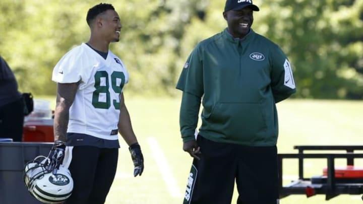 Jun 14, 2016; Florham Park, NJ, USA; New York Jets player Jalin Marshall talks to New York Jets head coach Todd Bowles during OTA at Atlantic Health Jets Training Center. Mandatory Credit: Noah K. Murray-USA TODAY Sports