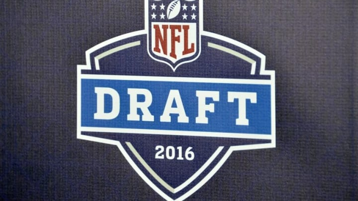Apr 28, 2016; Los Angeles, CA, USA; General view of 2016 NFL Draft logo at Los Angeles Rams draft party at L.A. Live. Mandatory Credit: Kirby Lee-USA TODAY Sports