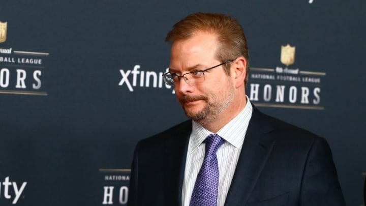 Jan 31, 2015; Phoenix, AZ, New York Giants general manager Mike Maccagnan on the red carpet prior to the NFL Honors award ceremony at Symphony Hall. Mandatory Credit: Mark J. Rebilas-USA TODAY Sports