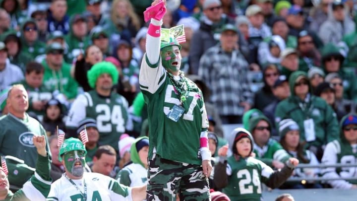 Oct 18, 2015; East Rutherford, NJ, USA; The New York Jets fans cheer from the stands during the first quarter against the Washington Redskins at MetLife Stadium. Mandatory Credit: Brad Penner-USA TODAY Sports