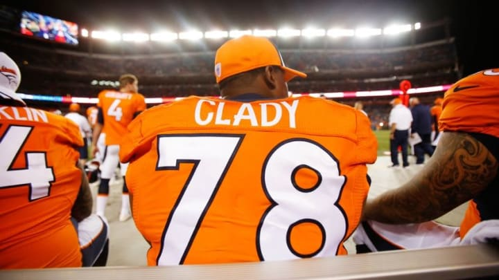 Aug 7, 2014; Denver, CO, USA; Denver Broncos left tackle Ryan Clady (78) during the game against the Seattle Seahawks at Sports Authority Field at Mile High. The Broncos won 21-16. Mandatory Credit: Chris Humphreys-USA TODAY Sports