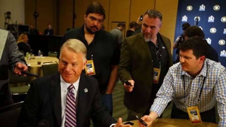 Feb 1, 2016; San Francisco, CA, USA; Boomer Esiason is interviewed during the CBS Sports media availability at the Moscone Center in advance of Super Bowl 50 between the Carolina Panthers and the Denver Broncos. Mandatory Credit: Jerry Lai-USA TODAY Sports