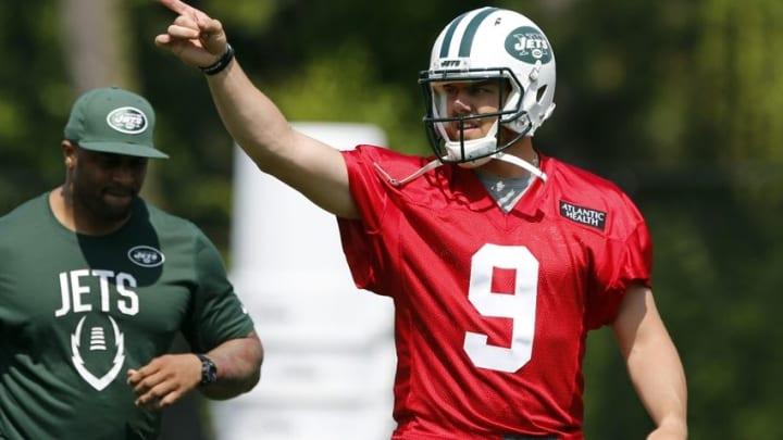 May 25, 2016; New York, NY, USA; New York Jets quarterback Bryce Petty (9) during OTA at Atlantic Health Training Center. Mandatory Credit: Noah K. Murray-USA TODAY Sports