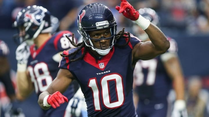 Nov 1, 2015; Houston, TX, USA; Houston Texans wide receiver DeAndre Hopkins (10) reacts after scoring a touchdown during the game against the Tennessee Titans at NRG Stadium. Mandatory Credit: Troy Taormina-USA TODAY Sports