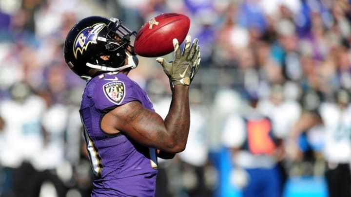 Nov 15, 2015; Baltimore, MD, USA; Baltimore Ravens wide receiver Jeremy Ross (10) fields a punt during the game against the Jacksonville Jaguars at M&T Bank Stadium. Mandatory Credit: Evan Habeeb-USA TODAY Sports