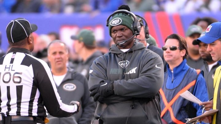 Dec 6, 2015; East Rutherford, NJ, USA; New York Jets head coach Todd Bowles during the first half against the New York Giants at MetLife Stadium. Mandatory Credit: Robert Deutsch-USA TODAY Sports