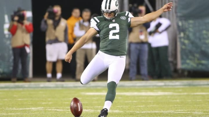 Sep 22, 2014; East Rutherford, NJ, USA; New York Jets kicker Nick Folk (2) kicks during the second quarter against the Chicago Bears at MetLife Stadium. Mandatory Credit: Anthony Gruppuso-USA TODAY Sports