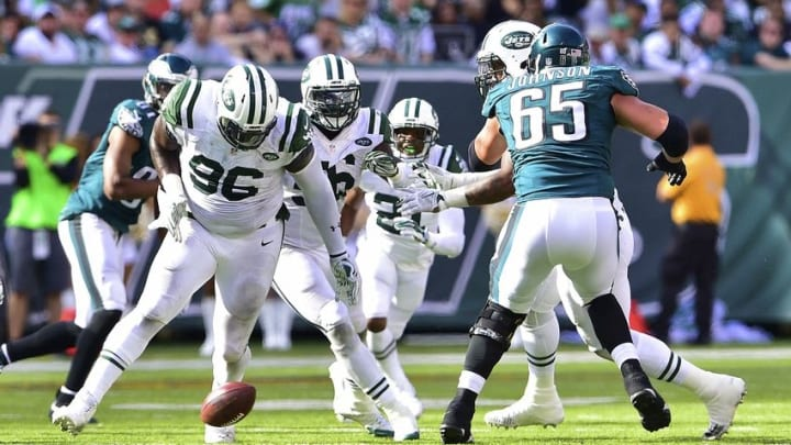 Sep 27, 2015; East Rutherford, NJ, USA; The New York Jets scramble for a fumble during the fourth quarter against the Philadelphia Eagles at MetLife Stadium. The Philadelphia Eagles defeated the New York Jets 24-17. Mandatory Credit: Steven Ryan-USA TODAY Sports