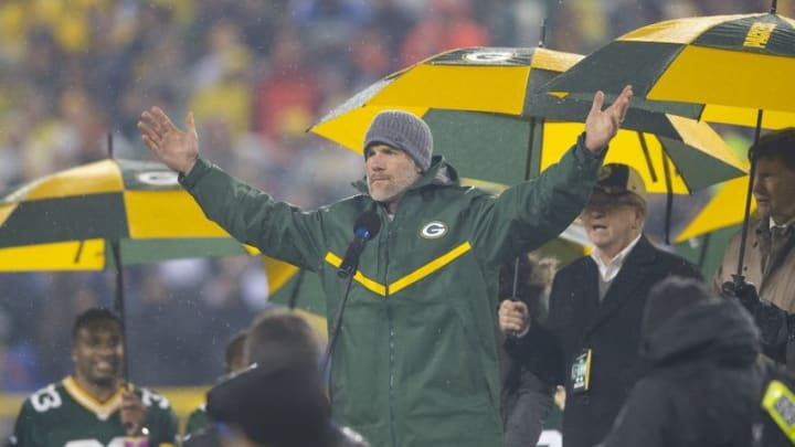 Nov 26, 2015; Green Bay, WI, USA; Former Green Bay Packers quarterback Brett Favre addresses the crowd during halftime of the NFL game against the Chicago Bears on Thanksgiving at Lambeau Field. Mandatory Credit: Jeff Hanisch-USA TODAY Sports