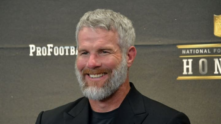 Feb 6, 2016; San Francisco, CA, USA; Brett Favre looks on during a press conference to announce the Pro Football Hall of Fame Class of 2016 at Bill Graham Civic Auditorium. Mandatory Credit: Kirby Lee-USA TODAY Sports