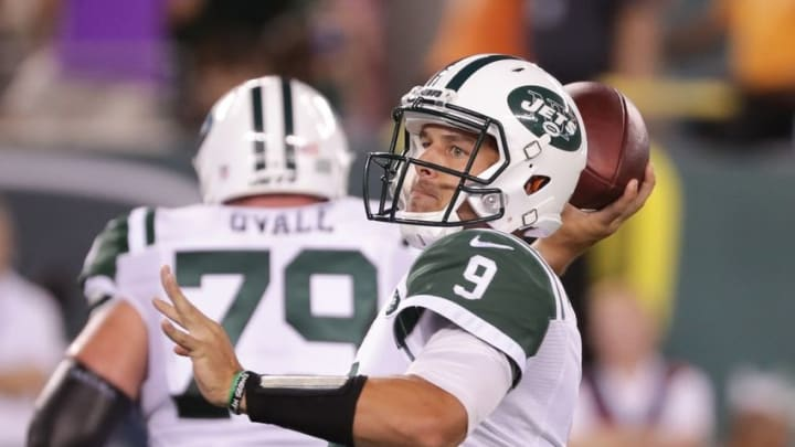 Aug 11, 2016; East Rutherford, NJ, USA; New York Jets quarterback Bryce Petty (9) passes during the second half of the preseason game against the Jacksonville Jaguars at MetLife Stadium. The Jets won, 17-23. Mandatory Credit: Vincent Carchietta-USA TODAY Sports