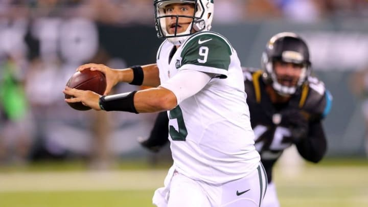 Aug 11, 2016; East Rutherford, NJ, USA; New York Jets quarterback Bryce Petty (9) looks to pass as he scrambles with the ball against the Jacksonville Jaguars during the fourth quarter of a preseason game at MetLife Stadium. Mandatory Credit: Brad Penner-USA TODAY Sports