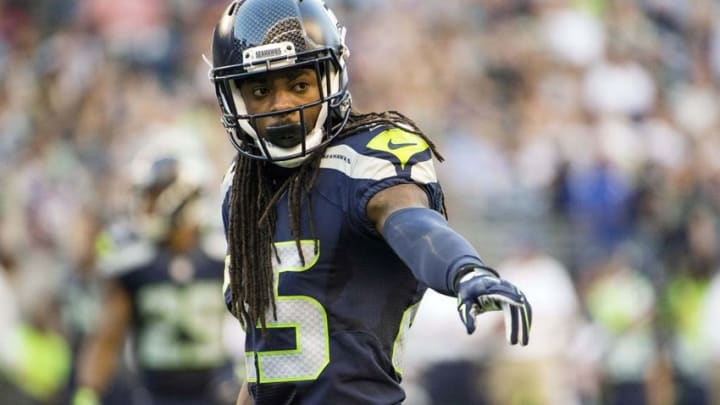 Aug 18, 2016; Seattle, WA, USA; Seattle Seahawks corner back Richard Sherman (25) prepares for play during the first quarter in a preseason game against the Minnesota Vikings at CenturyLink Field. Mandatory Credit: Troy Wayrynen-USA TODAY Sports
