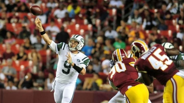 Aug 19, 2016; Landover, MD, USA; New York Jets quarterback Bryce Petty (9) throws a pass in the third quarter against the Washington Redskins at FedEx Field. Mandatory Credit: Evan Habeeb-USA TODAY Sports