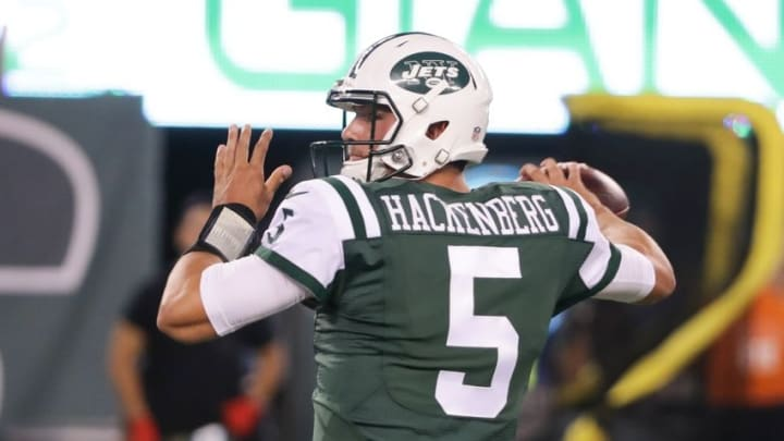 Aug 27, 2016; East Rutherford, NJ, USA; New York Jets quarterback Christian Hackenberg (5) looks to pass against the New York Giants during the second half at MetLife Stadium. The Giants won 21-20. Mandatory Credit: Vincent Carchietta-USA TODAY Sports