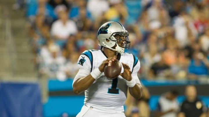 Aug 26, 2016; Charlotte, NC, USA; Carolina Panthers quarterback Cam Newton (1) drops back to pass in the second half against the New England Patriots at Bank of America Stadium. The Patriots defeated the Panthers 19-17. Mandatory Credit: Jeremy Brevard-USA TODAY Sports