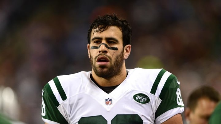 Nov 24, 2014; Detroit, MI, USA; New York Jets tight end Jace Amaro (88) against the Buffalo Bills at Ford Field. Mandatory Credit: Andrew Weber-USA TODAY Sports
