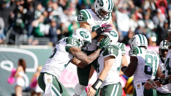 Oct 18, 2015; East Rutherford, NJ, USA; New York Jets wide receiver Eric Decker (87) celebrates with wide receiver Brandon Marshall (15) and quarterback Ryan Fitzpatrick (14) during his game against the Washington Redskins at MetLife Stadium. The Jets won, 34-20. Mandatory Credit: Vincent Carchietta-USA TODAY Sports