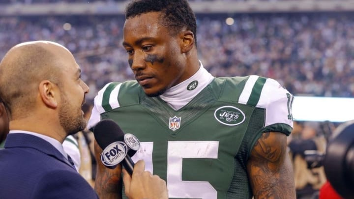 Dec 27, 2015; East Rutherford, NJ, USA; New York Jets wide receiver Brandon Marshall (15) being interviewed after game against the New England Patriots at MetLife Stadium. New York Jets defeat the New England Patriots 26-20 in OT. Mandatory Credit: Jim O