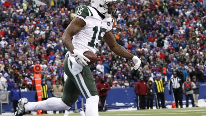 Jan 3, 2016; Orchard Park, NY, USA; New York Jets wide receiver Brandon Marshall (15) celebrates his touchdown catch against the Buffalo Bills during the first half at Ralph Wilson Stadium. Mandatory Credit: Kevin Hoffman-USA TODAY Sports