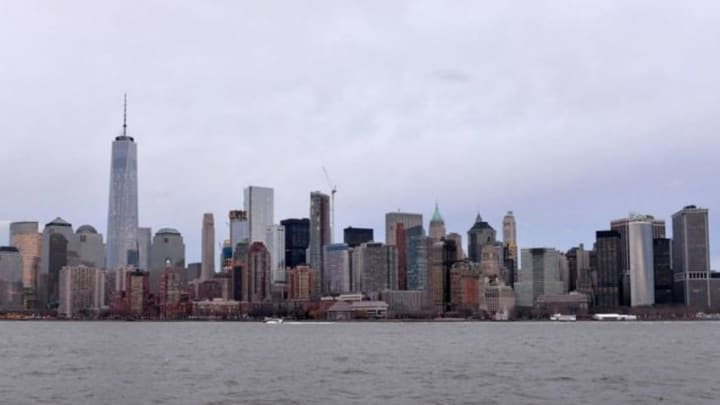 Feb 20, 2016; New York, NY, USA; General view of the Freedom Tower (World Trade Center) and the Manhattan skyline along the Hudson River. Mandatory Credit: Kirby Lee-USA TODAY Sports