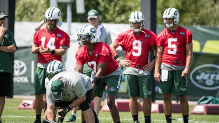 Jul 28, 2016; Florham Park, NJ, USA; New York Jets quarterback Geno Smith (7) takes a snap during drills at training camp at Atlantic Health Jets Training Center. Mandatory Credit: Vincent Carchietta-USA TODAY Sports