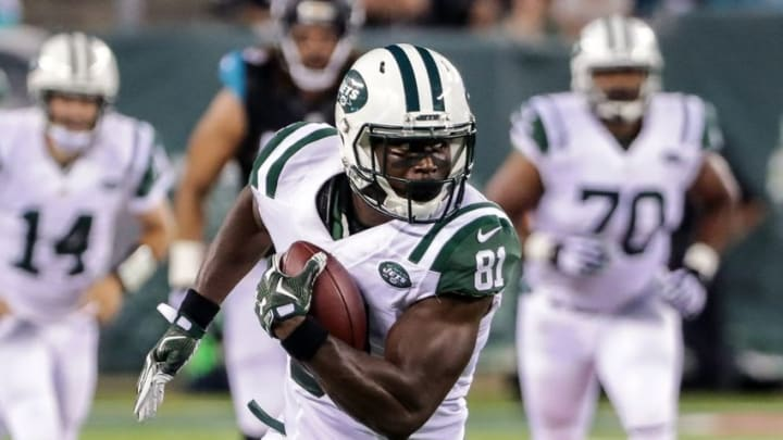 Aug 11, 2016; East Rutherford, NJ, USA; New York Jets wide receiver Quincy Enunwa (81) gains yards during the first half of the preseason game against the Jacksonville Jaguars at MetLife Stadium. Mandatory Credit: Vincent Carchietta-USA TODAY Sports