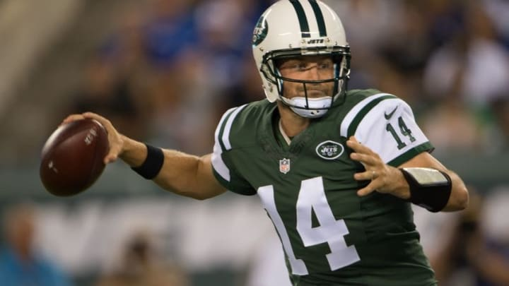 Aug 27, 2016; East Rutherford, NJ, USA;New York Jets quarterback Ryan Fitzpatrick (14) throws the ball in the 1st half at MetLife Stadium. Mandatory Credit: William Hauser-USA TODAY Sports