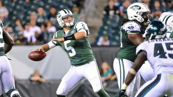 Sep 1, 2016; Philadelphia, PA, USA; New York Jets quarterback Christian Hackenberg (5) looks to pass against the Philadelphia Eagles during the second half at Lincoln Financial Field. The Eagles defeated the Jets, 14-6. Mandatory Credit: Eric Hartline-USA TODAY Sports