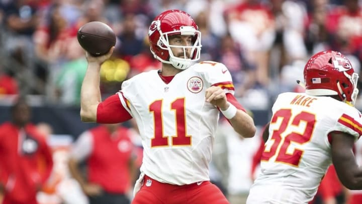 Sep 18, 2016; Houston, TX, USA; Kansas City Chiefs quarterback Alex Smith (11) attempts a pass during the second quarter against the Houston Texans at NRG Stadium. Mandatory Credit: Troy Taormina-USA TODAY Sports
