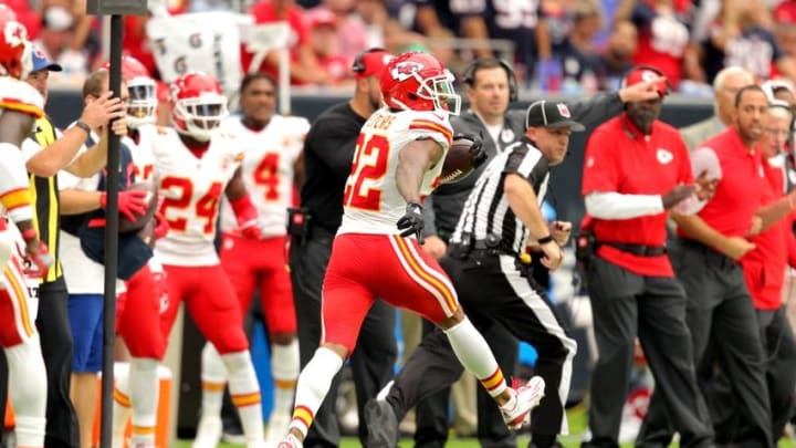 Sep 18, 2016; Houston, TX, USA; Kansas City Chiefs cornerback Marcus Peters (22) carries the ball upfield after an interception during the third quarter against the Houston Texans at NRG Stadium. Mandatory Credit: Erik Williams-USA TODAY Sports