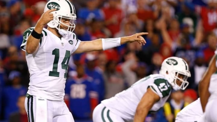 Sep 15, 2016; Orchard Park, NY, USA; New York Jets quarterback Ryan Fitzpatrick (14) during the game against the Buffalo Bills at New Era Field. Mandatory Credit: Kevin Hoffman-USA TODAY Sports