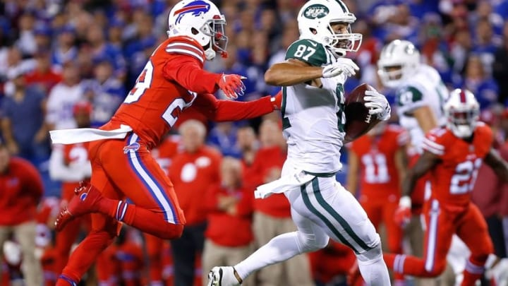 Sep 15, 2016; Orchard Park, NY, USA; Buffalo Bills cornerback Kevon Seymour (29) and New York Jets wide receiver Eric Decker (87) during the game at New Era Field. Mandatory Credit: Kevin Hoffman-USA TODAY Sports