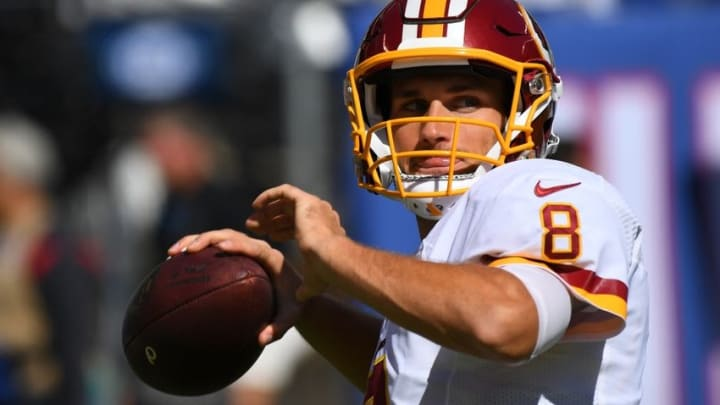 Sep 25, 2016; East Rutherford, NJ, USA; Washington Redskins quarterback Kirk Cousins (8) throws the ball prior to the game against the New York Giants at MetLife Stadium. Mandatory Credit: Robert Deutsch-USA TODAY Sports