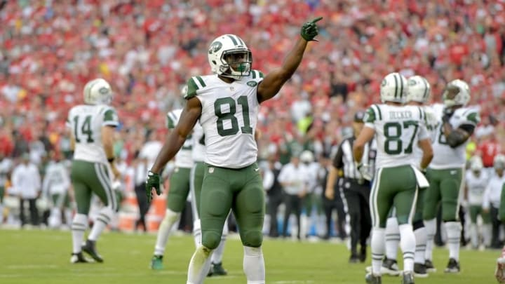 Sep 25, 2016; Kansas City, MO, USA; New York Jets wide receiver Quincy Enunwa (81) celebrates after a run during the second half against the Kansas City Chiefs at Arrowhead Stadium. The Chiefs won 24-3. Mandatory Credit: Denny Medley-USA TODAY Sports
