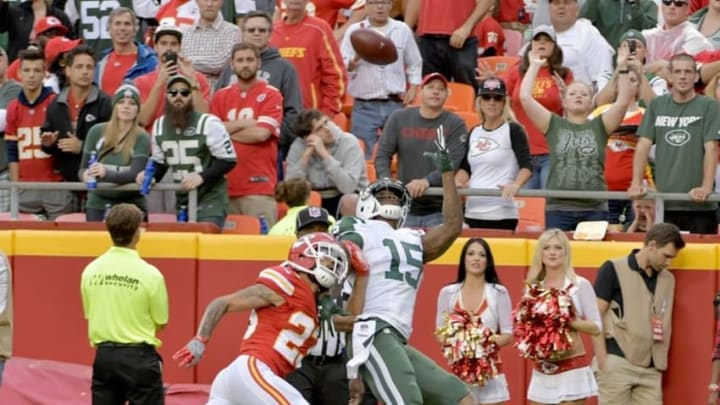 Sep 25, 2016; Kansas City, MO, USA; Kansas City Chiefs cornerback Phillip Gaines (23) breaks up a pass intended for New York Jets wide receiver Brandon Marshall (15) during the second half at Arrowhead Stadium. The Chiefs won 24-3. Mandatory Credit: Denny Medley-USA TODAY Sports