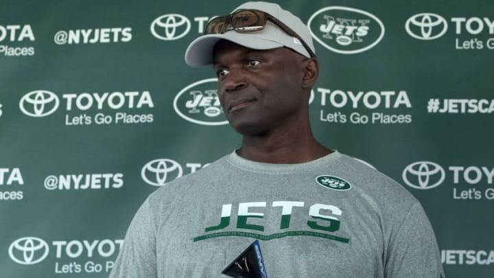 Jul 28, 2016; Florham Park, NJ, USA; New York Jets head coach Todd Bowles speaks to the media during training camp at Atlantic Health Jets Training Center. Mandatory Credit: Vincent Carchietta-USA TODAY Sports