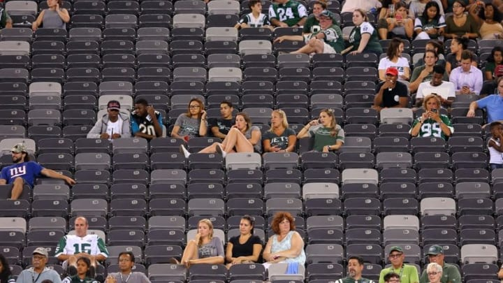 Aug 11, 2016; East Rutherford, NJ, USA; Fans watch during the fourth quarter of a preseason game between the Jacksonville Jaguars and the New York Jets at MetLife Stadium. Mandatory Credit: Brad Penner-USA TODAY Sports