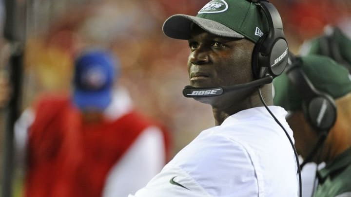 Aug 19, 2016; Landover, MD, USA; New York Jets head coach Todd Bowles on looks on against the Washington Redskins during the first half at FedEx Field. Mandatory Credit: Brad Mills-USA TODAY Sports