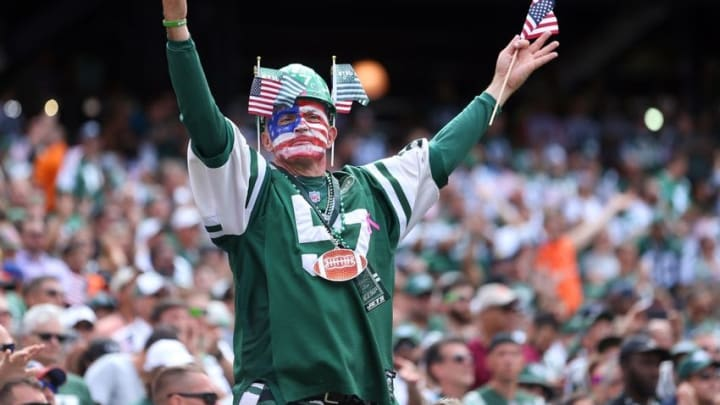 Sep 11, 2016; East Rutherford, NJ, USA; Fans cheer before a game between the New York Jets and the Cincinnati Bengals at MetLife Stadium. Mandatory Credit: Brad Penner-USA TODAY Sports