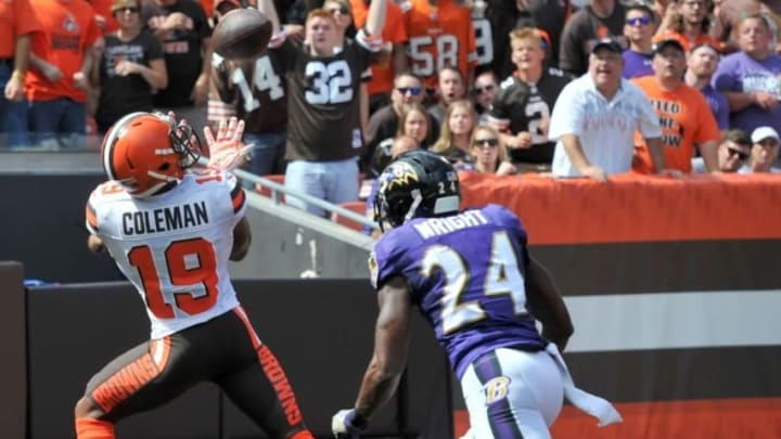 Sep 18, 2016; Cleveland, OH, USA; Cleveland Browns wide receiver Corey Coleman (19) catches a touchdown pass as Baltimore Ravens cornerback Shareece Wright (24) defends during the first quarter at FirstEnergy Stadium. Mandatory Credit: Ken Blaze-USA TODAY Sports