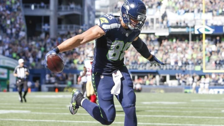 Sep 25, 2016; Seattle, WA, USA; Seattle Seahawks tight end Jimmy Graham (88) celebrates his touchdown reception against the San Francisco 49ers during the second quarter at CenturyLink Field. Mandatory Credit: Joe Nicholson-USA TODAY Sports