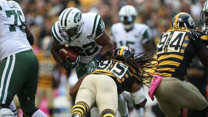 Oct 9, 2016; Pittsburgh, PA, USA; New York Jets running back Matt Forte (22) is tackled by Pittsburgh Steelers linebacker Jarvis Jones (95) during the second half of their game at Heinz Field. The Steelers won, 31-13. Mandatory Credit: Jason Bridge-USA TODAY Sports