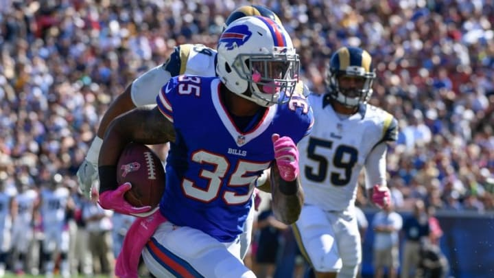 Oct 9, 2016; Los Angeles, CA, USA; Buffalo Bills running back Mike Gillislee (35) runs 5 yards into the end zone for a touchdown in the 2nd quarter against the Los Angeles Rams at Los Angeles Memorial Coliseum. Mandatory Credit: Robert Hanashiro-USA TODAY Sports