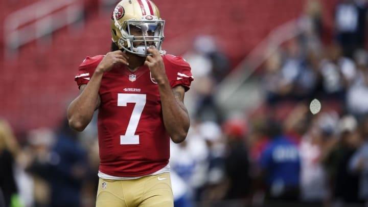 Oct 2, 2016; Santa Clara, CA, USA; San Francisco 49ers quarterback Colin Kaepernick (7) warms up prior to the game against the Dallas Cowboys at Levi