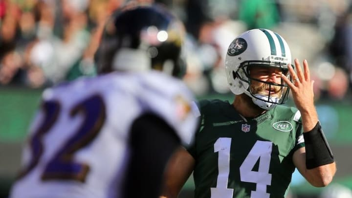 Oct 23, 2016; East Rutherford, NJ, USA; New York Jets quarterback Ryan Fitzpatrick (14) calls a play during the second half at MetLife Stadium. The Jets defeated the Ravens 24-16. Mandatory Credit: Ed Mulholland-USA TODAY Sports
