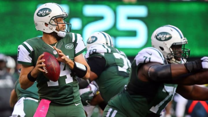 Oct 23, 2016; East Rutherford, NJ, USA; New York Jets quarterback Ryan Fitzpatrick (14) looks to pass the ball during the second half at MetLife Stadium. The Jets defeated the Ravens 24-16. Mandatory Credit: Ed Mulholland-USA TODAY Sports