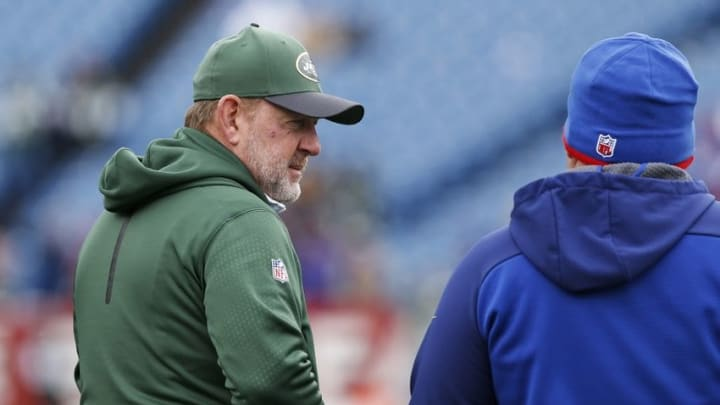 Jan 3, 2016; Orchard Park, NY, USA; New York Jets offensive coordinator Chan Gailey on the field before the game against the Buffalo Bills at Ralph Wilson Stadium. Mandatory Credit: Kevin Hoffman-USA TODAY Sports